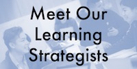 Meet Our Learning Strategists texbox on blue bacground