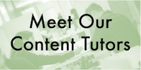 """Meet Our Content Tutors"" textbox on green background"