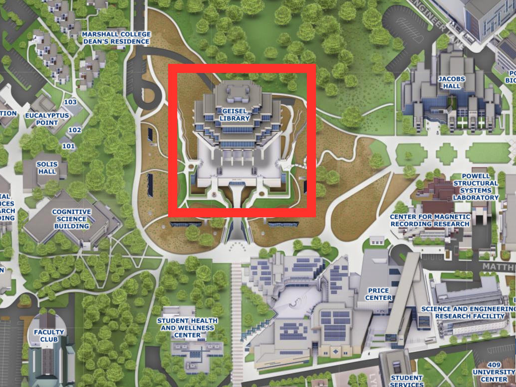 campus map showing location of Geisel Library