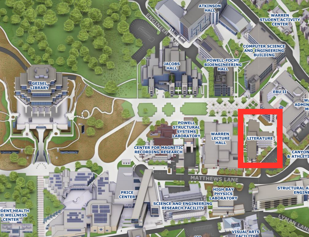 campus map showing location of Literature Building