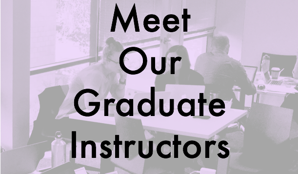 Meet Our Graduate Instructors textbox on lilac background